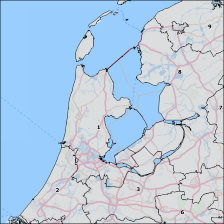 Postal code 4 map of The Netherlands